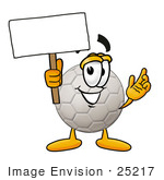 #25217 Clip Art Graphic Of A White Soccer Ball Cartoon Character Holding A Blank Sign