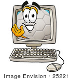 #25221 Clip Art Graphic Of A White Soccer Ball Cartoon Character Waving From Inside A Computer Screen
