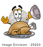 #25223 Clip Art Graphic Of A White Soccer Ball Cartoon Character Serving A Thanksgiving Turkey On A Platter