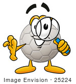 #25224 Clip Art Graphic Of A White Soccer Ball Cartoon Character Looking Through A Magnifying Glass