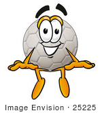 #25225 Clip Art Graphic Of A White Soccer Ball Cartoon Character Sitting