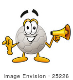 #25226 Clip Art Graphic Of A White Soccer Ball Cartoon Character Holding A Megaphone