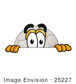 #25227 Clip Art Graphic Of A White Soccer Ball Cartoon Character Peeking Over A Surface