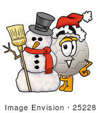 #25228 Clip Art Graphic Of A White Soccer Ball Cartoon Character With A Snowman On Christmas