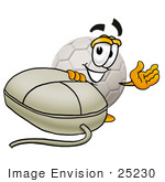 #25230 Clip Art Graphic Of A White Soccer Ball Cartoon Character With A Computer Mouse