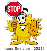 #25231 Clip Art Graphic Of A Yellow Sun Cartoon Character Holding A Stop Sign
