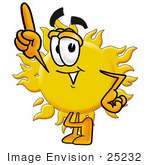 #25232 Clip Art Graphic Of A Yellow Sun Cartoon Character Pointing Upwards