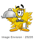 #25235 Clip Art Graphic Of A Yellow Sun Cartoon Character Dressed As A Waiter And Holding A Serving Platter