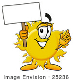 #25236 Clip Art Graphic of a Yellow Sun Cartoon Character Holding a Blank Sign by toons4biz
