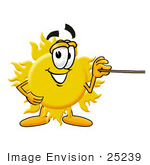 #25239 Clip Art Graphic Of A Yellow Sun Cartoon Character Holding A Pointer Stick