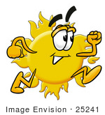 #25241 Clip Art Graphic of a Yellow Sun Cartoon Character Running by toons4biz