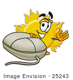 #25243 Clip Art Graphic Of A Yellow Sun Cartoon Character With A Computer Mouse