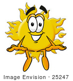 #25247 Clip Art Graphic Of A Yellow Sun Cartoon Character Sitting