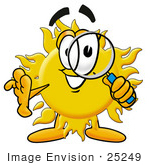 #25249 Clip Art Graphic Of A Yellow Sun Cartoon Character Looking Through A Magnifying Glass