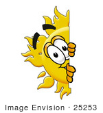 #25253 Clip Art Graphic Of A Yellow Sun Cartoon Character Peeking Around A Corner