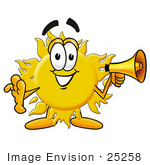 #25258 Clip Art Graphic Of A Yellow Sun Cartoon Character Holding A Megaphone