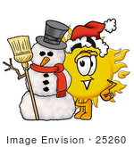 #25260 Clip Art Graphic Of A Yellow Sun Cartoon Character With A Snowman On Christmas