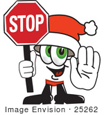 #25262 Clip Art Graphic Of A Santa Claus Cartoon Character Holding A Stop Sign