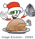 #25263 Clip Art Graphic Of A Santa Claus Cartoon Character Serving A Thanksgiving Turkey On A Platter