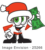 #25266 Clip Art Graphic Of A Santa Claus Cartoon Character Holding A Dollar Bill