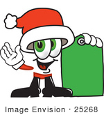 #25268 Clip Art Graphic Of A Santa Claus Cartoon Character Holding A Green Sales Price Tag