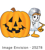 #25278 Clip Art Graphic Of A Salt Shaker Cartoon Character With A Carved Halloween Pumpkin