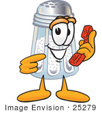 #25279 Clip Art Graphic Of A Salt Shaker Cartoon Character Holding A Telephone