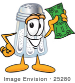 #25280 Clip Art Graphic of a Salt Shaker Cartoon Character Holding a Dollar Bill by toons4biz