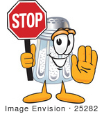 #25282 Clip Art Graphic of a Salt Shaker Cartoon Character Holding a Stop Sign by toons4biz