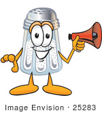 #25283 Clip Art Graphic Of A Salt Shaker Cartoon Character Holding A Megaphone