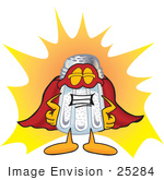 #25284 Clip Art Graphic Of A Salt Shaker Cartoon Character Dressed As A Super Hero