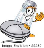 #25289 Clip Art Graphic Of A Salt Shaker Cartoon Character With A Computer Mouse