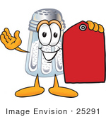 #25291 Clip Art Graphic Of A Salt Shaker Cartoon Character Holding A Red Sales Price Tag