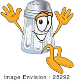 #25292 Clip Art Graphic Of A Salt Shaker Cartoon Character Jumping