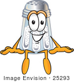 #25293 Clip Art Graphic Of A Salt Shaker Cartoon Character Sitting