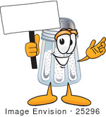 #25296 Clip Art Graphic Of A Salt Shaker Cartoon Character Holding A Blank Sign