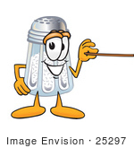 #25297 Clip Art Graphic Of A Salt Shaker Cartoon Character Holding A Pointer Stick
