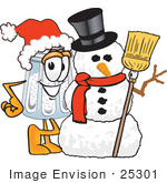 #25301 Clip Art Graphic Of A Salt Shaker Cartoon Character With A Snowman On Christmas