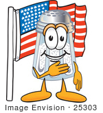 #25303 Clip Art Graphic Of A Salt Shaker Cartoon Character Pledging Allegiance To An American Flag