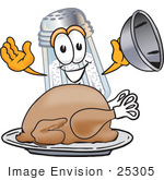 #25305 Clip Art Graphic Of A Salt Shaker Cartoon Character Serving A Thanksgiving Turkey On A Platter