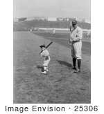 #25306 Sports Stock Photography of Babe Ruth and a Boy, Little Mascot, Posing With Bats on a Baseball Field by JVPD