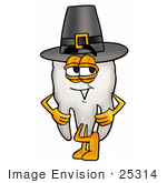 #25314 Clip Art Graphic Of A Human Molar Tooth Character Wearing A Pilgrim Hat On Thanksgiving