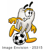 #25315 Clip Art Graphic Of A Human Molar Tooth Character Kicking A Soccer Ball