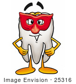 #25316 Clip Art Graphic Of A Human Molar Tooth Character Wearing A Red Mask Over His Face
