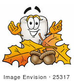 #25317 Clip Art Graphic of a Human Molar Tooth Character With Autumn Leaves and Acorns in the Fall by toons4biz