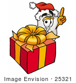 #25321 Clip Art Graphic Of A Human Molar Tooth Character Standing By A Christmas Present