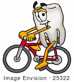 #25322 Clip Art Graphic Of A Human Molar Tooth Character Riding A Bicycle