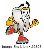 #25323 Clip Art Graphic Of A Human Molar Tooth Character Roller Blading On Inline Skates