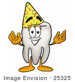 #25325 Clip Art Graphic Of A Human Molar Tooth Character Wearing A Party Hat