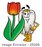 #25326 Clip Art Graphic Of A Human Molar Tooth Character With A Red Tulip Flower In The Spring